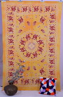 Indian Elephant Mandala Twin Yellow Tapestry Wall Hanging Bedspread Bed Cover