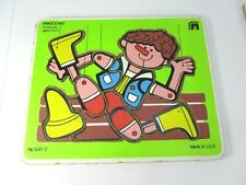 Vintage Wooden Puzzle Pinocchio Sandberg Wooden Puzzle USA Made Wood