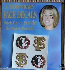 Set of 4 Face Art Decals Florida State Seminoles College Football Sports Tattoos