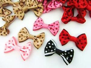 "50 Polka Dot Satin Ribbon Bow 1.5"" Applique/trim/sewing/Fabric/dress/Craft F38"
