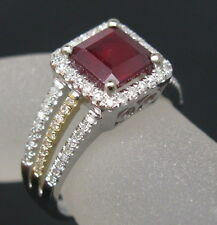 Genuine Natural Brilliant Diamond Blood Ruby Ring 3.20CT Solid 14K 2 Tone Gold