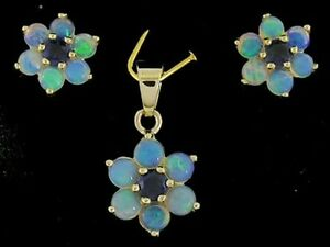 E058 Genuine 9K Solid Gold Natural Opal Sapphire Blossom Earrings & Pendant set