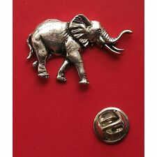 English Pewter ELEPHANT Pin Badge Tie Pin / Lapel Badge (XTSBPA20)