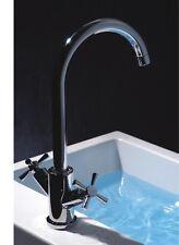 New Bath Bathroom Dual Lever Basin Sink Mixer Brass Chrome Tap Taps Faucets