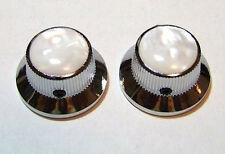 Guitar Parts METAL TOPHAT Skirt KNOBS 1/4in Hole - PEARL TOP - Set of 2 - CHROME