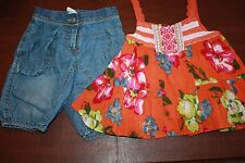 CATIMINI HIPPIE PARADISE 2 PCE DENIM BUBBLE SHORTS/ORANGE TANK TOP SET 4A 5 102