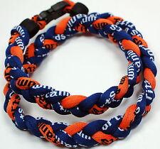 "Wholesale Lot of 12 20"" Navy Blue Orange Baseball Titanium Necklace Tornado"