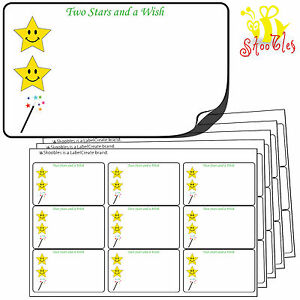 315 Two 2 Stars and a Wish Stickers 64x38mm.Premium Quality Self Adhesive Labels