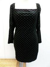 Black & Gold Velvet Look Party Dress Size UK 16 NEW