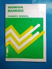 Honda EM650 Generator Owners Manual