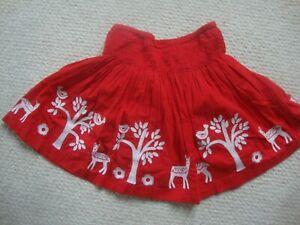 Mini Boden girl's red skirt age 3-4 years - Deer, Christmas