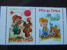 FRANCE 2002 FETE DU TIMBRE  P3467A (3467a+3468) NEUF** SANS CHARNIERE