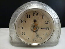 RENE LALIQUE FROSTED GLASS FEUILLES MANTLE CLOCK  CLEAR AND FROSTED R. Lalique
