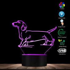 3D Dachshund Optical illusion Puppy Custom Decorative Night Light Table Lamp