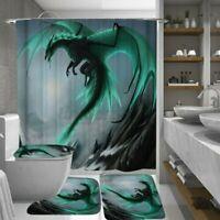 4Pcs/Set Drachen Druckschrift Badezimmer Rutschfest Wc Deckel Badematte Dusche #