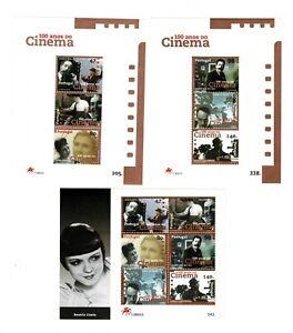 3 Hojitas bloque 100 años del Cinema sellos Portugal 1996 stamps cine ref.02