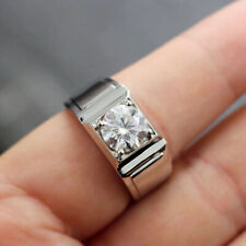 Men's 1.6Ct Round White Moissanite Personality Engagement Ring In 14K White Gold