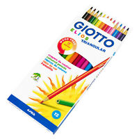 Children's Colouring Pencils 12 Giotto Triangular Mixed Colour Pack Good Quality