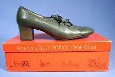 Vintage 1960's Block High Heel Thick Laced Pumps Shoe - Grey 7 2A Town & Country