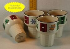 Pfaltzgraff SNOW BEAR Ice Cream Cone Stoneware Cups Set of FOUR! MINT!
