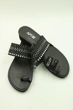 Apt. 9 Sandal Studded Wedge w/Toe Loop Black Size L 9/10  NWT Flip Flop