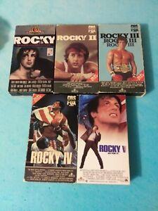 Rocky Sylvester Stallone ROCKY, ROCKY II, ROCKY III, ROCKY IV, & ROCKY V (VHS)