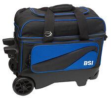 BSI Large Wheel Roller 2 Ball Double Roller Bowling Bag Black/Blue