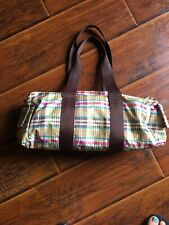 LE SPORTSAC Green/Brown Plaid Shoulder Duffle Bag Tote Purse