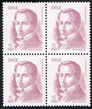 CHILE 1985 STAMP # 1052 MNH BLOCK OF FOUR DIEGO PORTALES