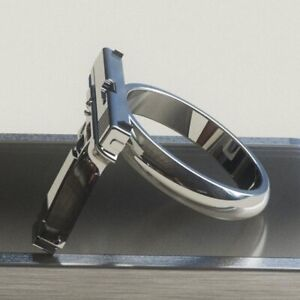 Fashion 925 Silver Gothic Personalized Pistol Ring Men Party Rings Jewelry sz 9