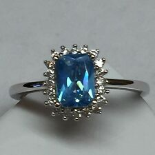 Cushion Cut 2ct London Blue Topaz 925 Solid Sterling Silver Ring sz 6.75