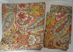 3PC Pottery Barn Bella Paisley Full/Queen Duvet Cover + 2 Standard Shams