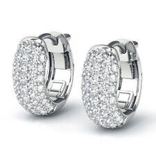 1.00 Ct Round Brilliant Cut Diamond Hoop Earrings 10K White Gold Over
