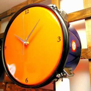 Orange face - Drum Clock - Upcycled