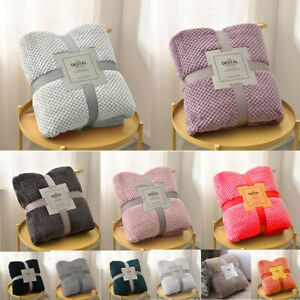Luxury Waffle Blanket Fleece Travel Throw Sofa Bed Warm Cosy  Home Accessory