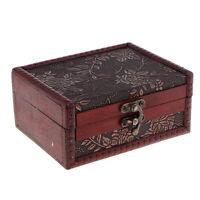 Antique Wooden Lock Jewelry Holder Storage Necklace Bracelet Gift Box Case B