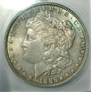 1886 USA Morgan Silver Dollar ICG MS63 Condition With Colorful Toning   (840)