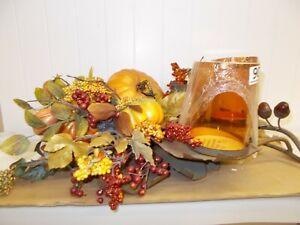 KW-526 Fall Autumn Table Top Centerpiece Pumpkin Thanksgiving 2 Candle Decor