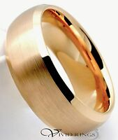 Mens Tungsten Carbide Gold Plated Wedding Band Beveled Ring - 8MM