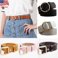 US STOCK Women Vintage Metal Boho Leather Round Buckle Waist Belt Waistband New