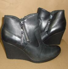 UGG Australia Meredith Black Wedge Leather Ankle Boots Size US 7 NIB #1009948