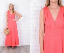 Vintage 70s Coral Maxi Dress Boho Mod Sleeveless Plunging Small S