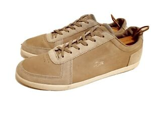 Lacoste Mens Brown Leather Lace Up Athletic Shoes Size 13