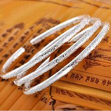 Fashion Women 925 Silver Plated LOVE Bracelet Jewelry Charm Cuff Bangle Gift