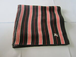 "USED BLACK/RED STRIPED PATTERN COTTON 18"" POCKET SQUARE HANDKERCHIEF HANKY  MEN"