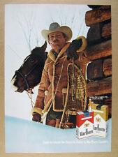 1970 Marlboro Cigarettes cowboy man horse snowshoes vintage print Ad