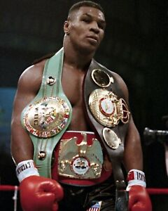 MIKE TYSON 8X10 PHOTO BOXING PICTURE WITH BELTS