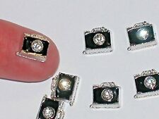 2 Miniature dollhouse TINY little Metal Crystal blk Camera charm flatback 7x13mm