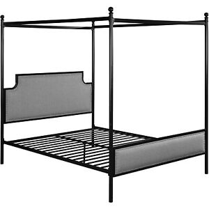 Christopher Knight Home Asa Queen Size Iron Canopy Bed Frame with Upholstered