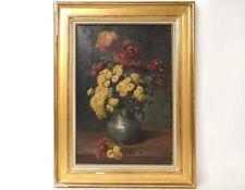 HST tableau bouquet fleurs chrysanthèmes nature morte Muller XIXème siècle
